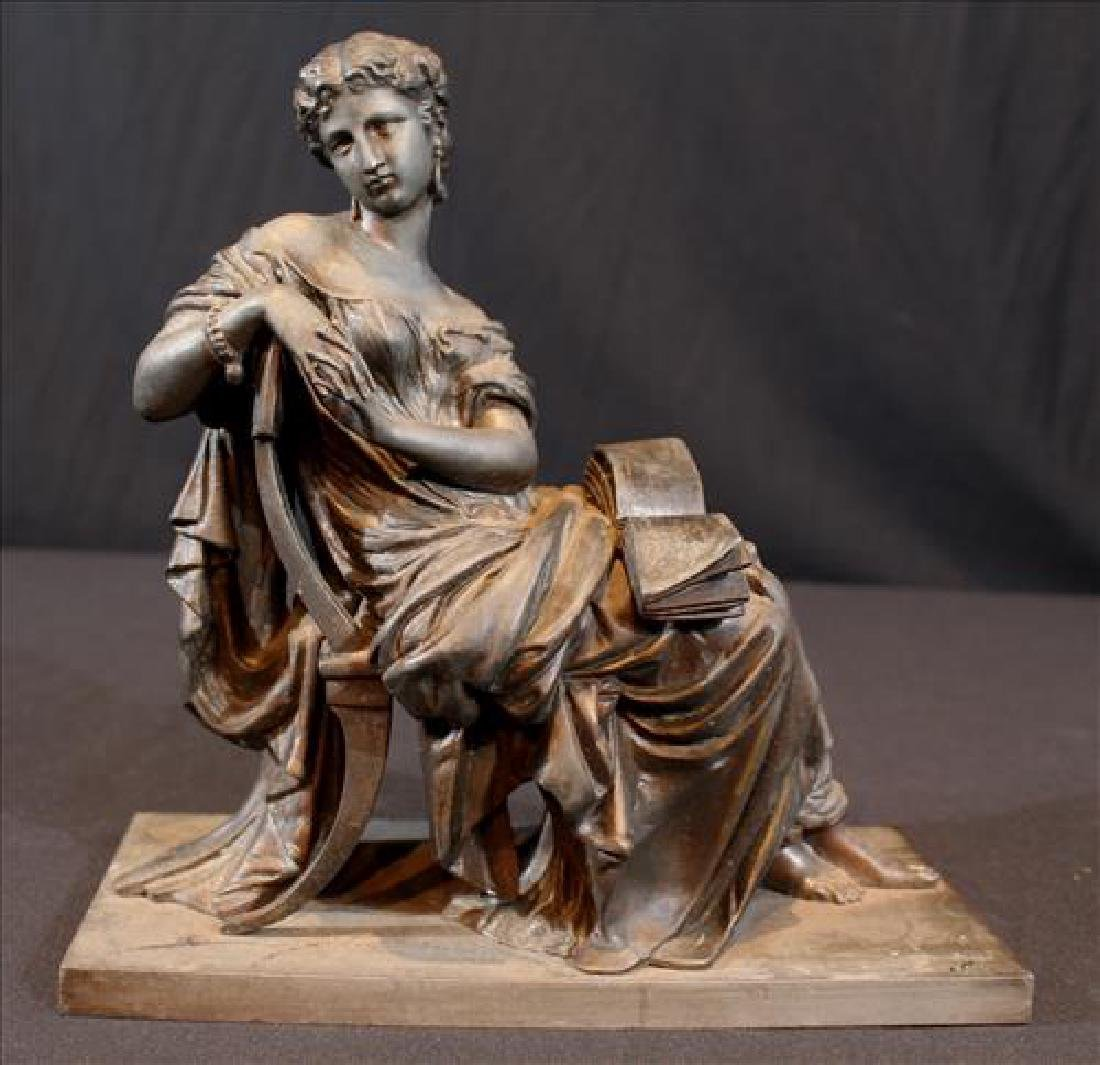 Bronze Grecian lady piece that sits on top of a clock