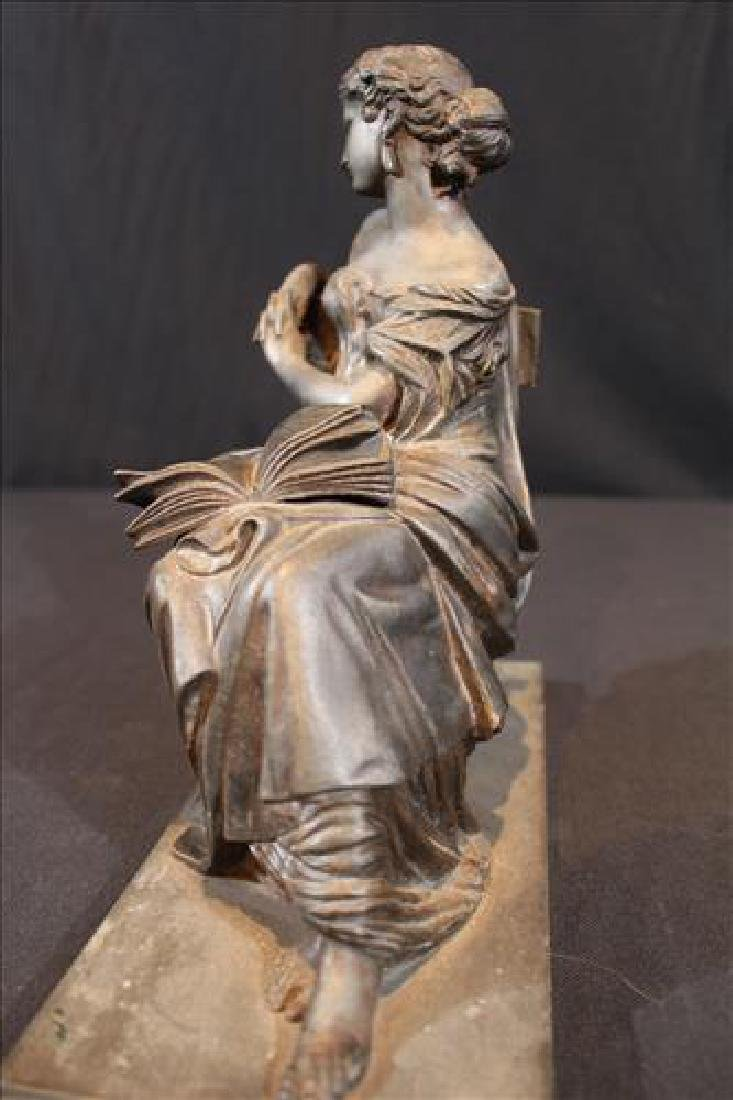 Bronze Grecian lady piece that sits on top of a clock - 2