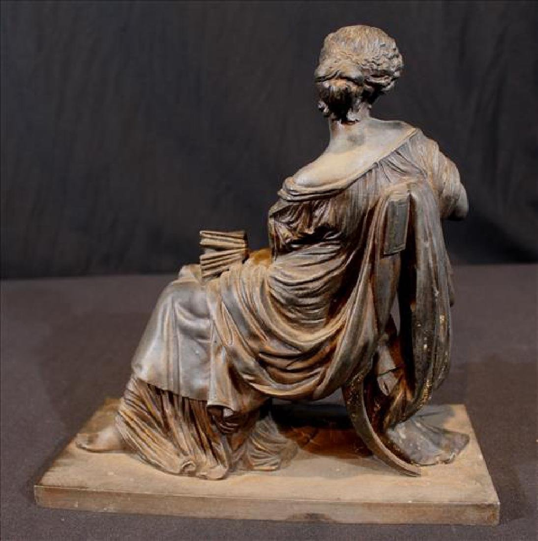 Bronze Grecian lady piece that sits on top of a clock - 3