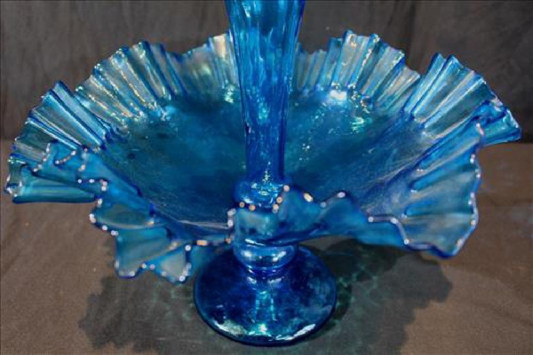 Fancy bright blue frilly glass epergne, 15 in. T. - 2