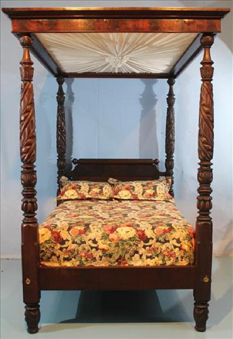 Fine acanthus carved full tester plantation bed