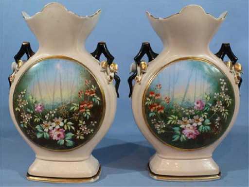 Pair Old Paris Vases In Cream Color 15 In T Ca 1873