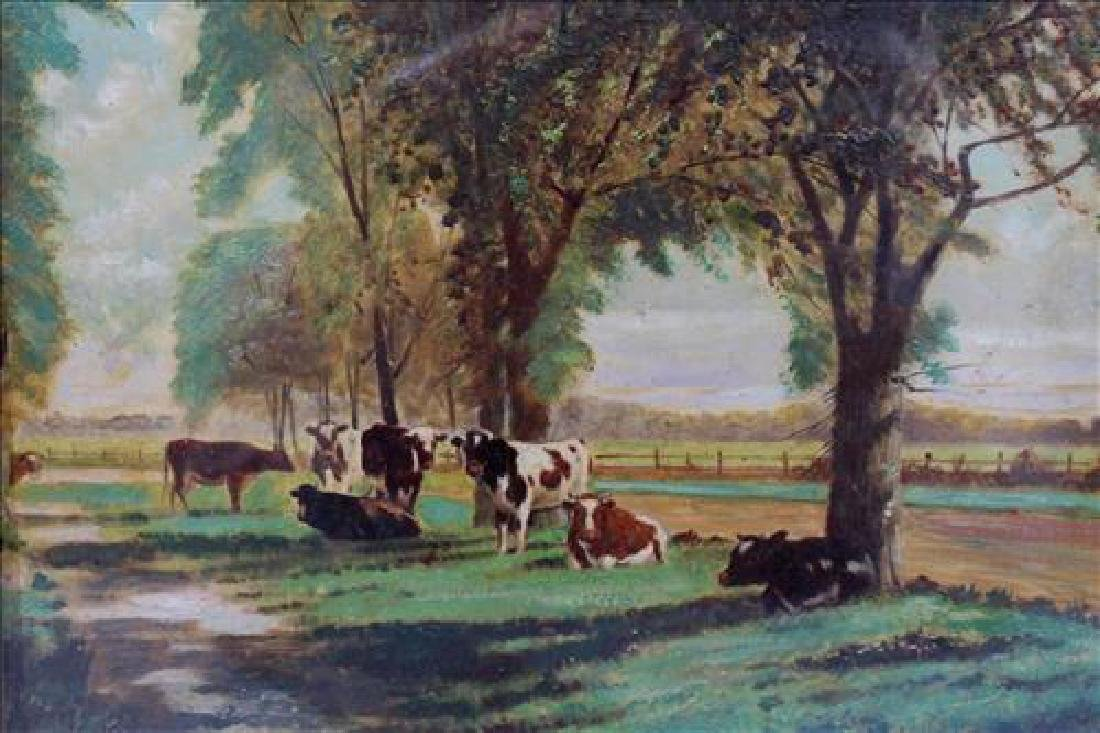Gold leaf framed oil on canvas of cows in shadow box - 2
