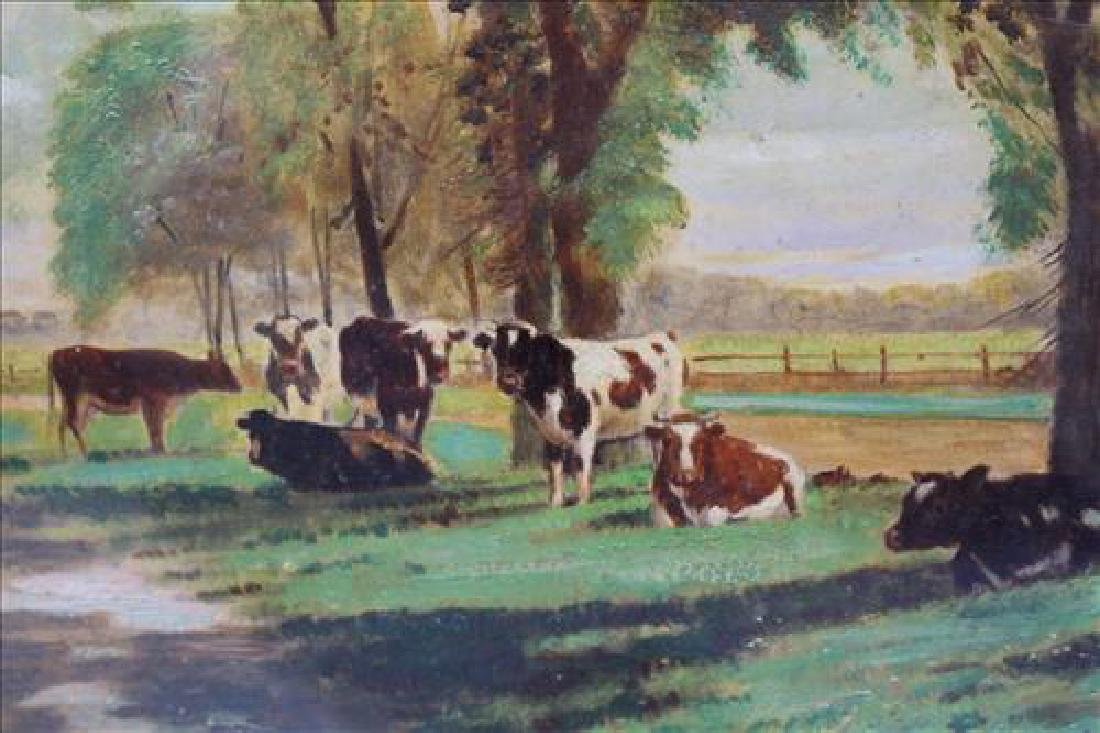 Gold leaf framed oil on canvas of cows in shadow box - 3