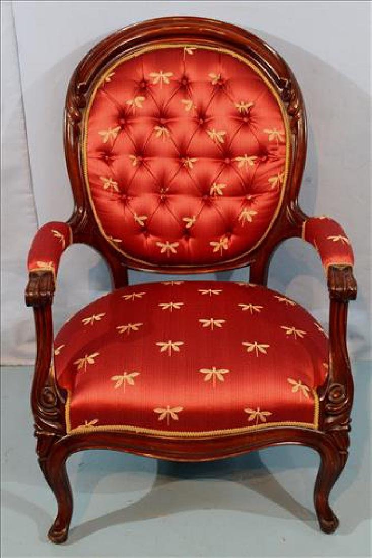 Walnut Victorian gentleman's parlor chair