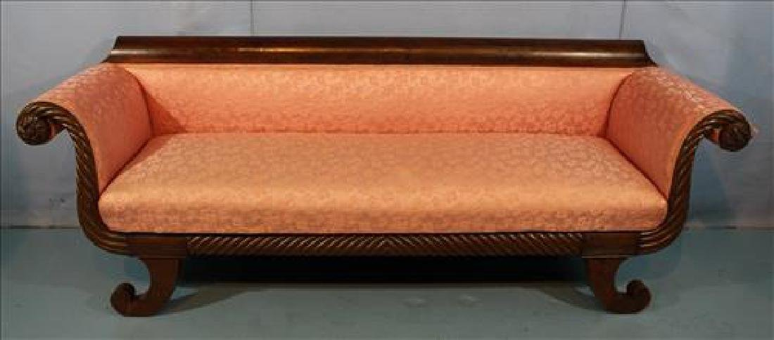 Mahogany Empire sofa with pink upholstery