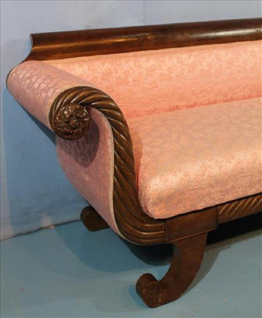 Mahogany Empire sofa with pink upholstery - 2