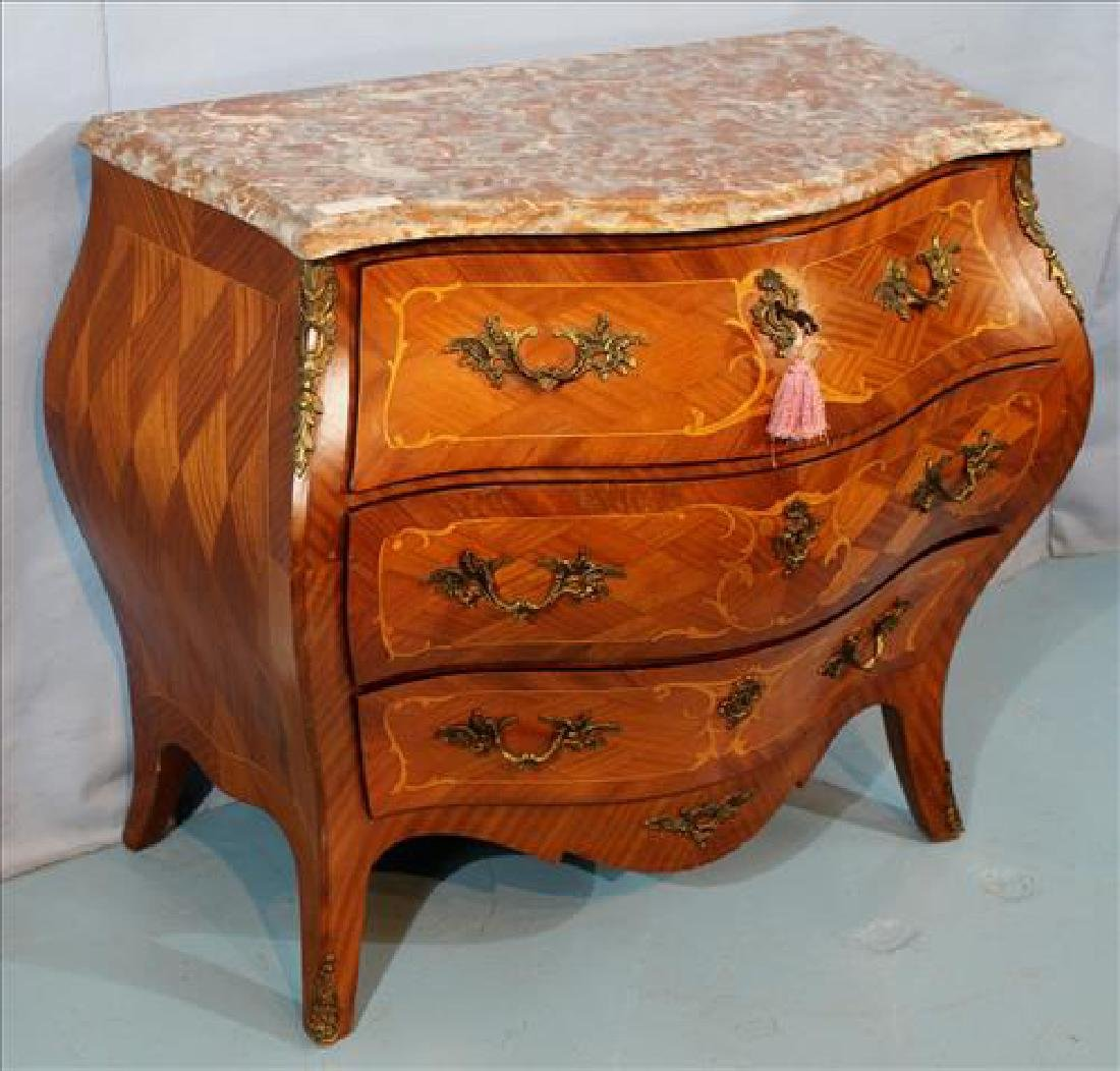 Mahogany inlaid Bombay chest with marble top - 2