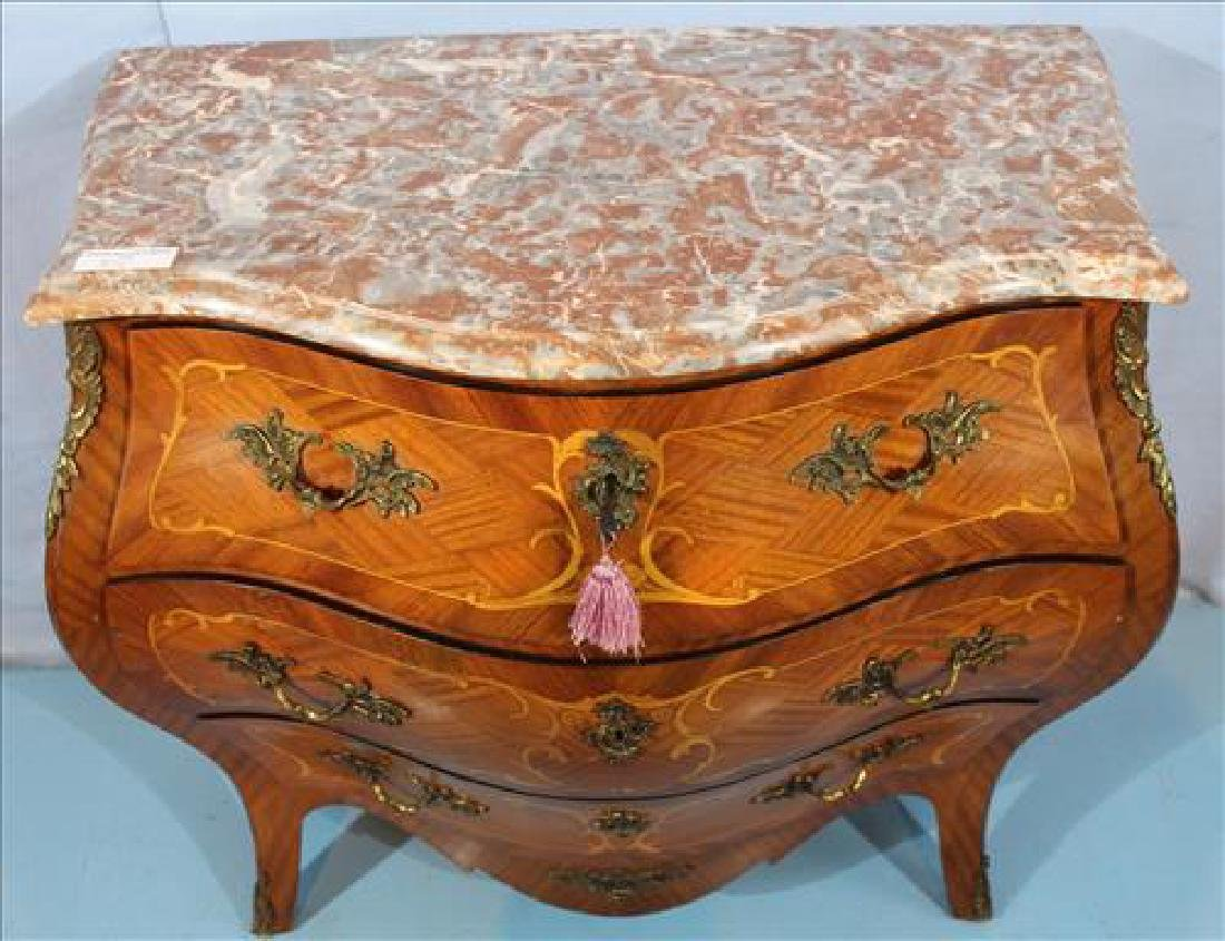 Mahogany inlaid Bombay chest with marble top - 3