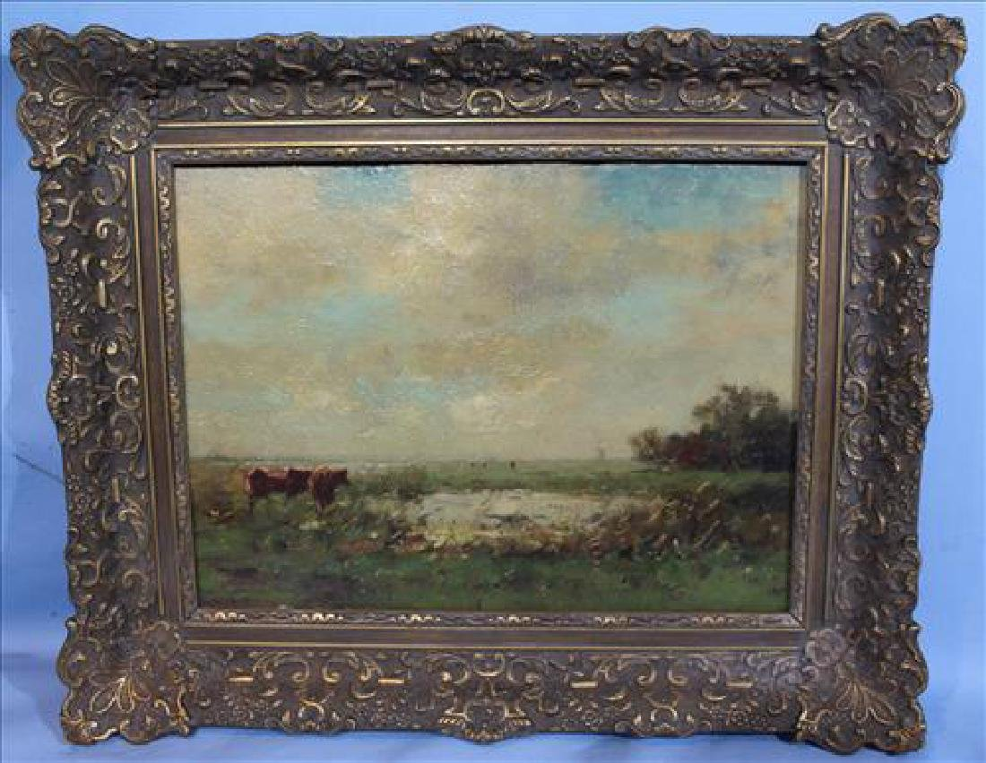 Late 19th Century Oil painting on wood of cow in