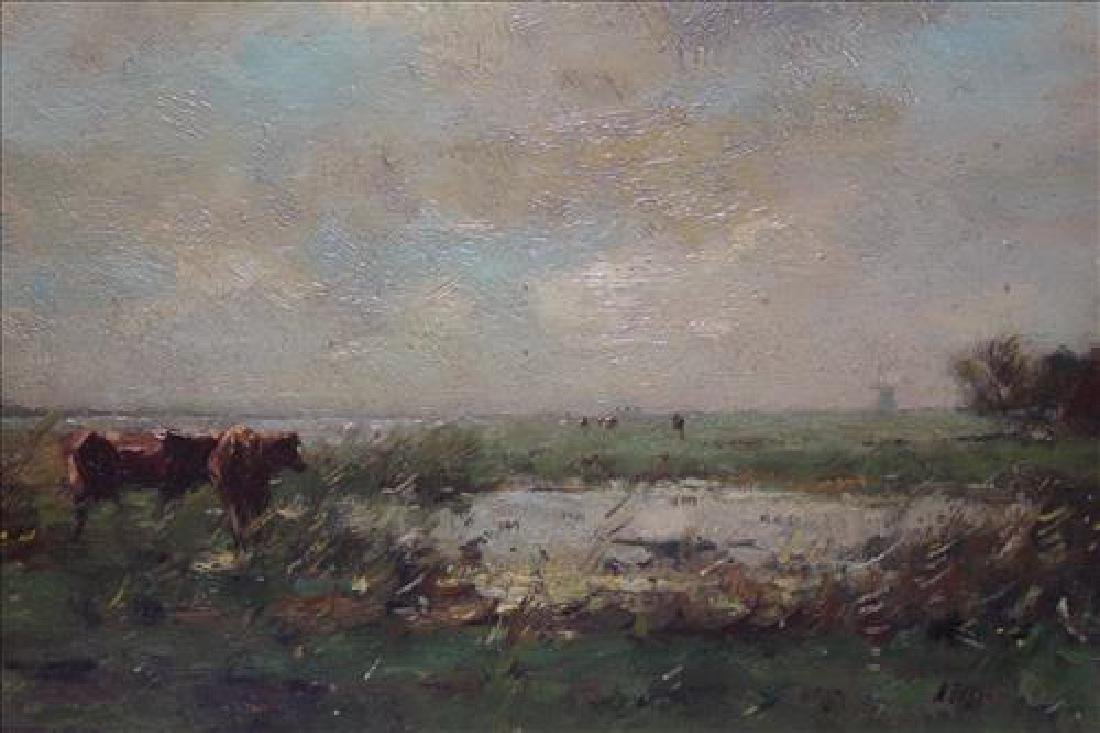 Late 19th Century Oil painting on wood of cow in - 2