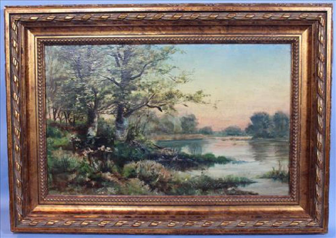 Oil Painting on artist board of river scene, 21 x 14