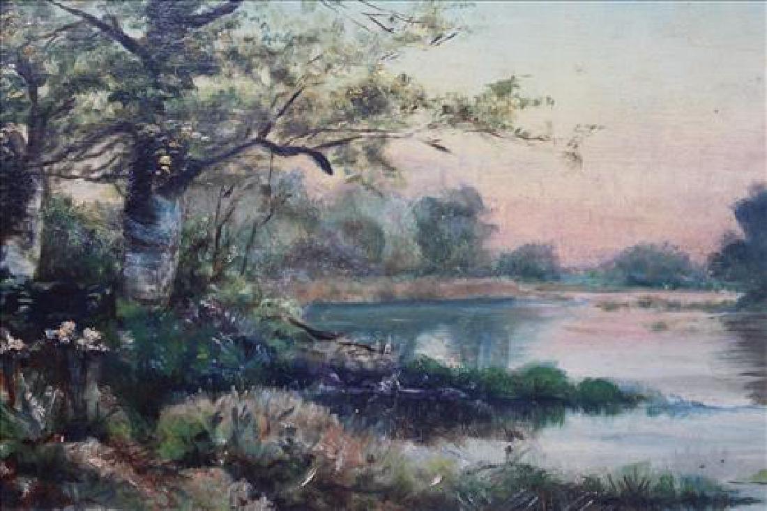 Oil Painting on artist board of river scene, 21 x 14 - 2