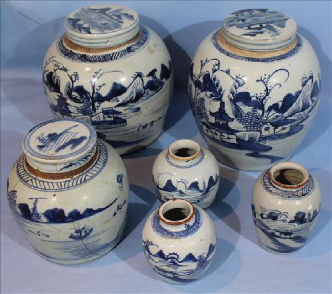 6 pieces of very old Chinese canton ginger jars