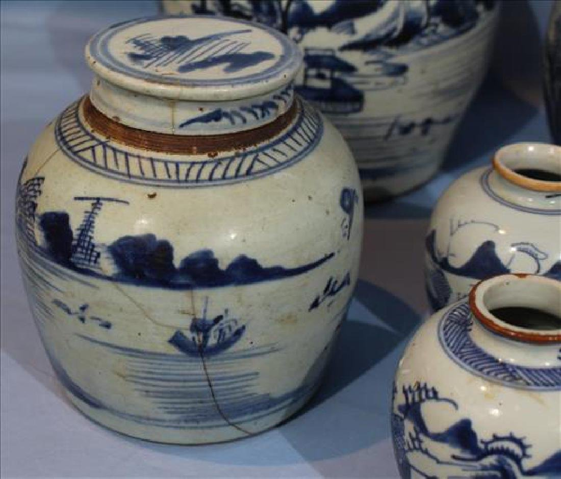 6 pieces of very old Chinese canton ginger jars - 4
