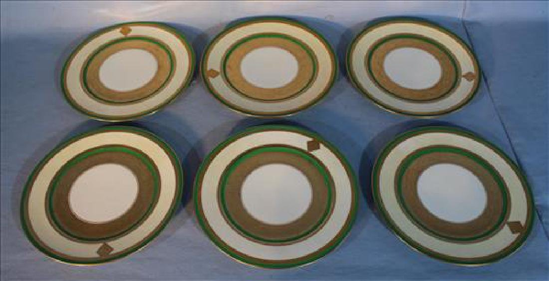 Signed Germany 6 decorative plates, green and white