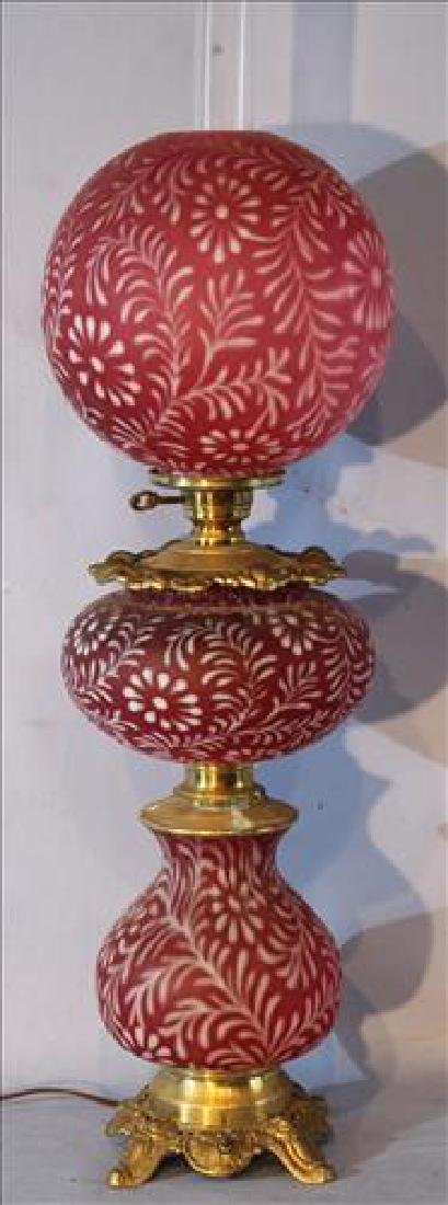 Cranberry banquet lamp, 37 in . T.