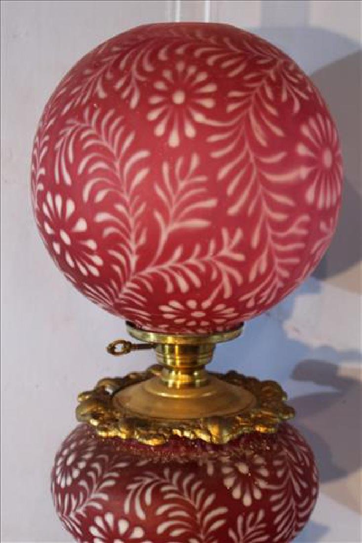 Cranberry banquet lamp, 37 in . T. - 2