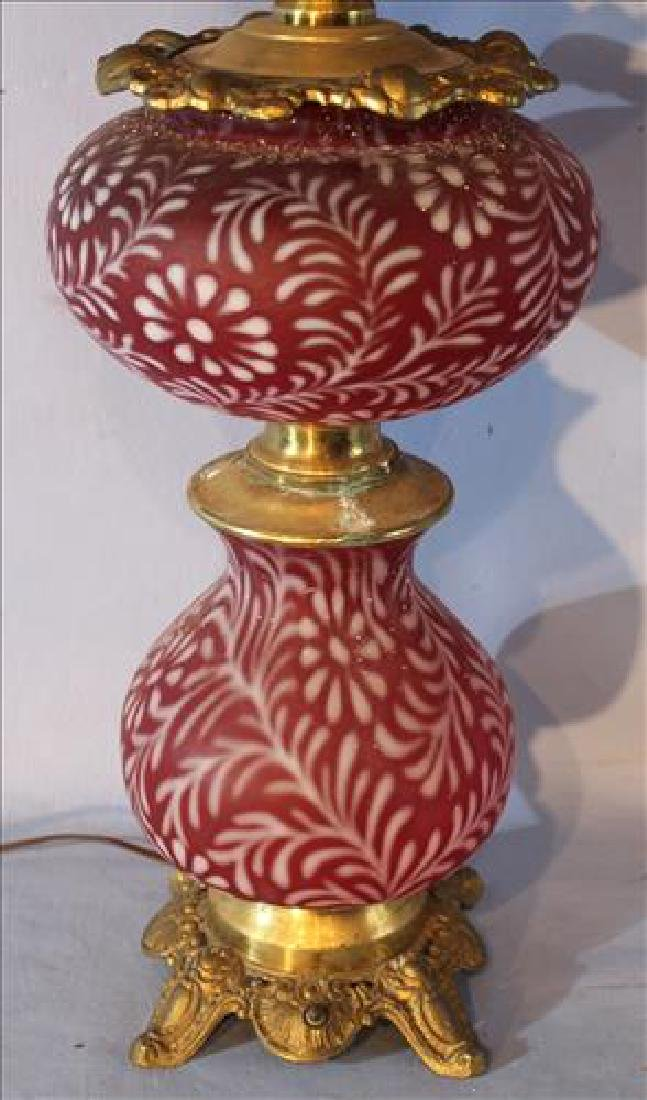 Cranberry banquet lamp, 37 in . T. - 3