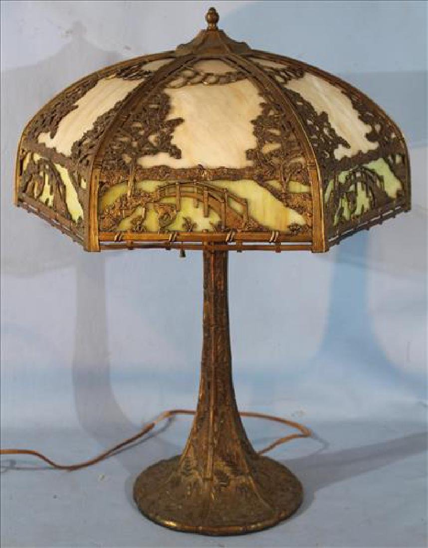 Slag glass panel lamp with birds and trees, bronze base