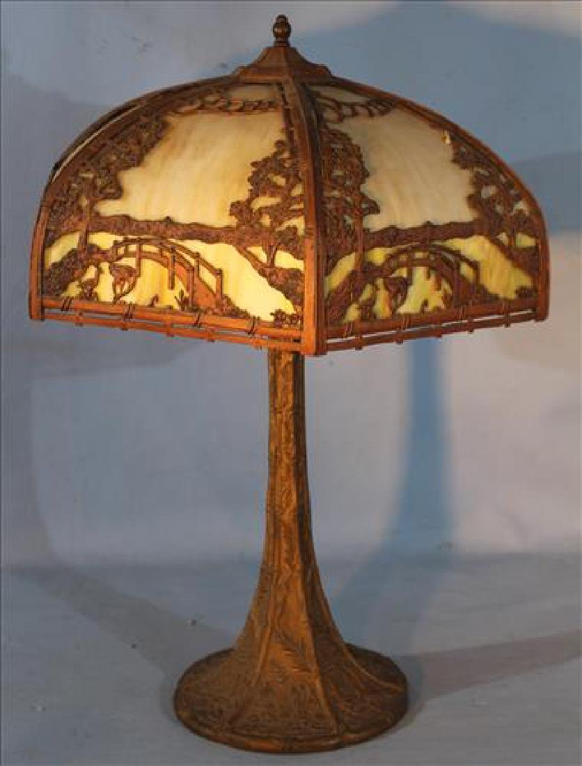 Bronze lamp with slag glass shade, 25 in. T.