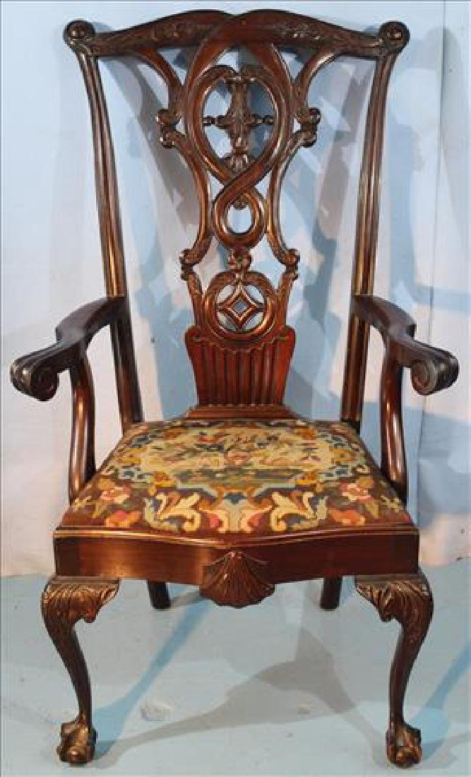 Oversize mahogany Chippendale arm dining chair
