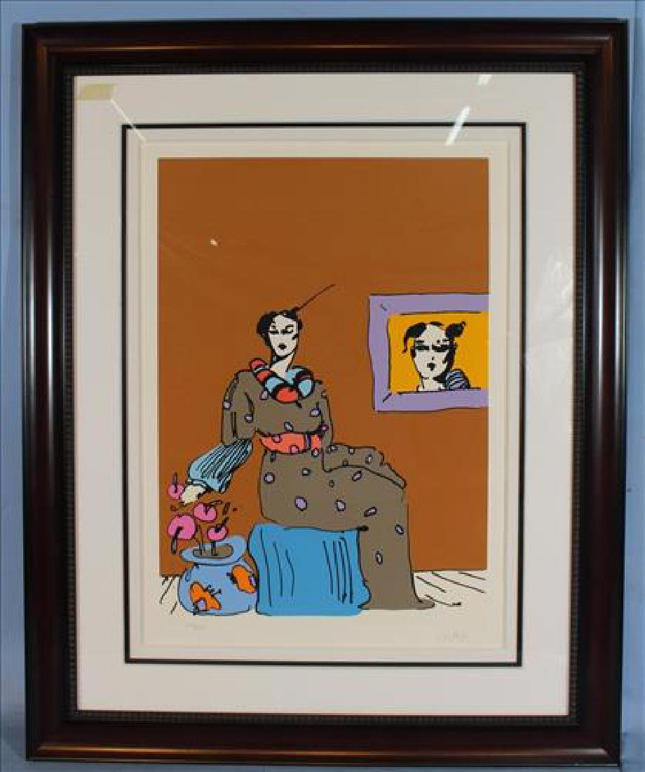 Peter Max, Lady in Picture, 1978 signed serigraph, 29 x