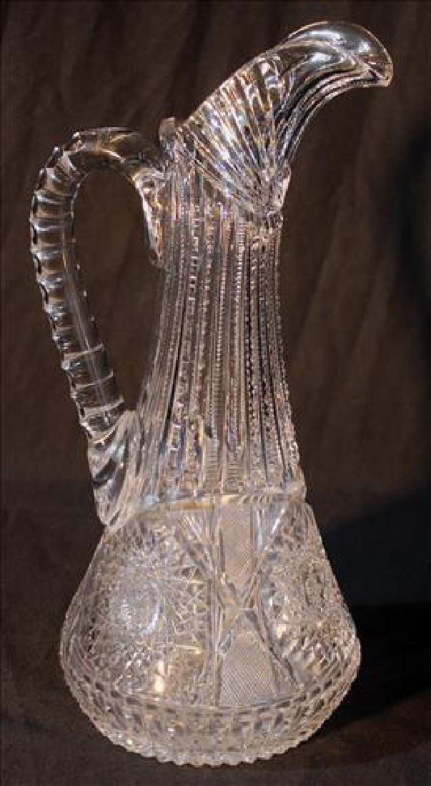 Brilliant cut glass pitcher, 13 in. T.