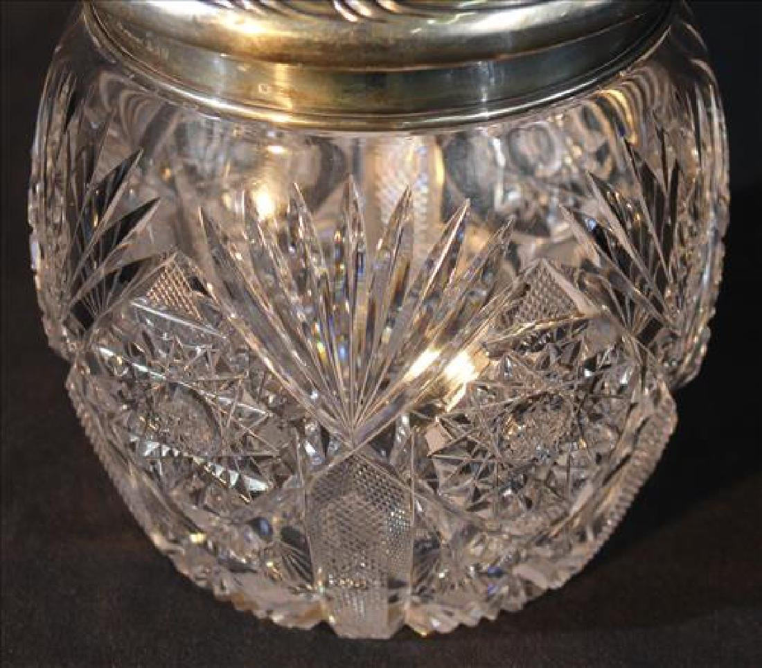 Brilliant cut glass biscuit jar with sterling lid - 2