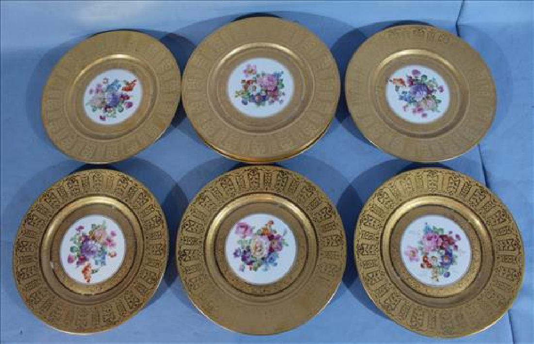Set of 8 H&C Selb Bavaria plates, 10 in. Dia. with gold