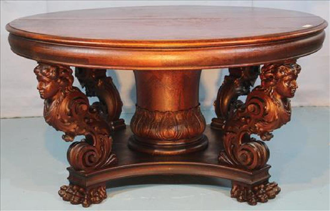 Solid Oak dining table with lady heads carved on legs