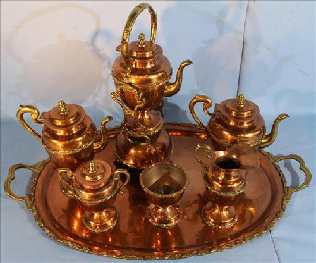 Large 7 piece ornate copper and brass tea set