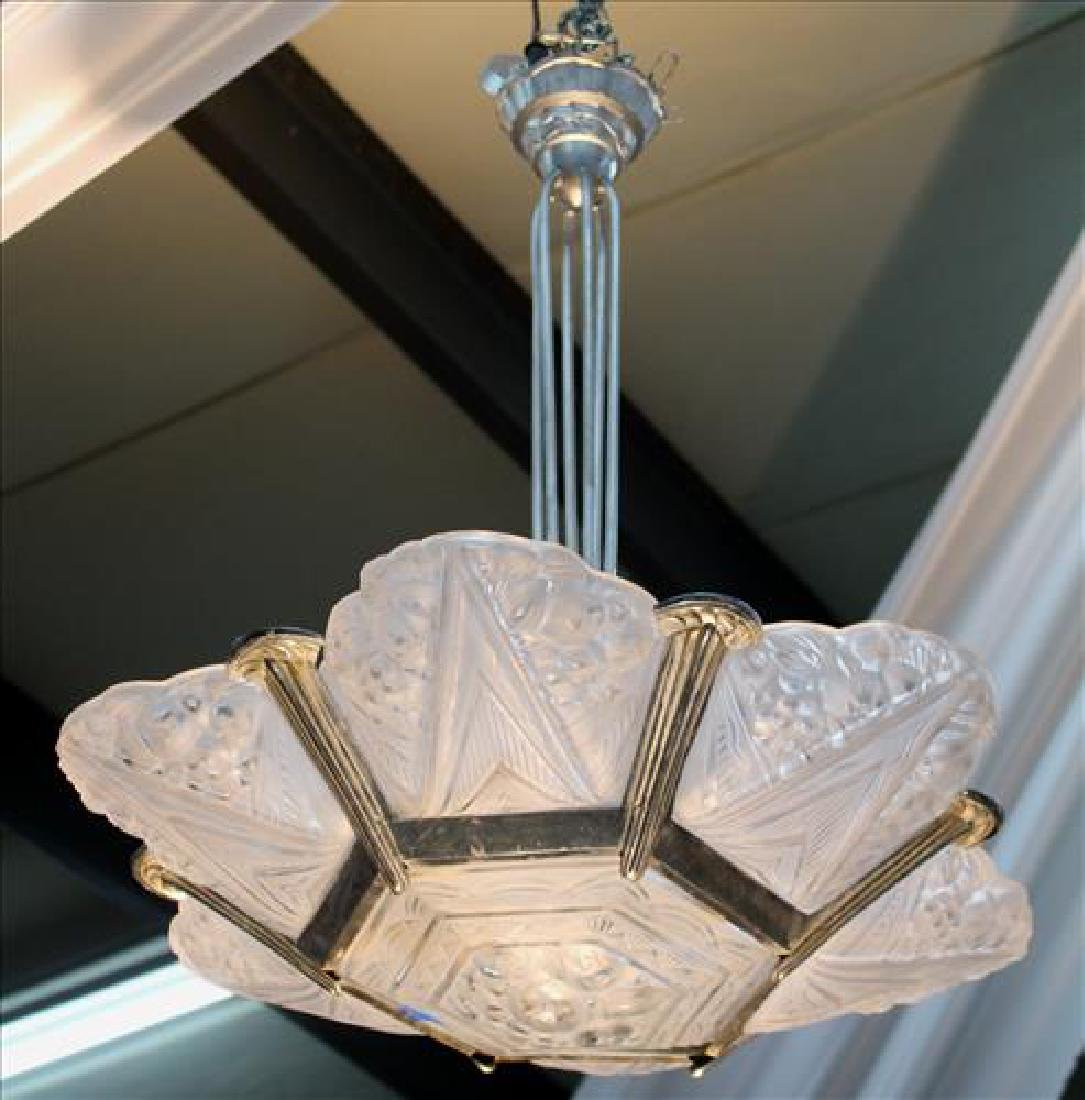 Art Deco light fixture, possibly lalique, 43 in. T.