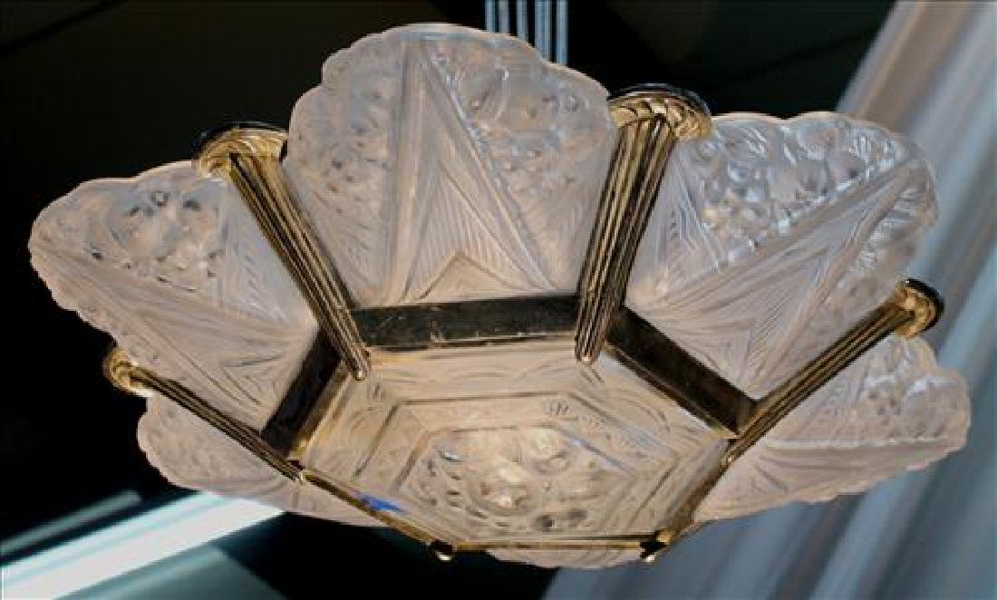 Art Deco light fixture, possibly lalique, 43 in. T. - 2