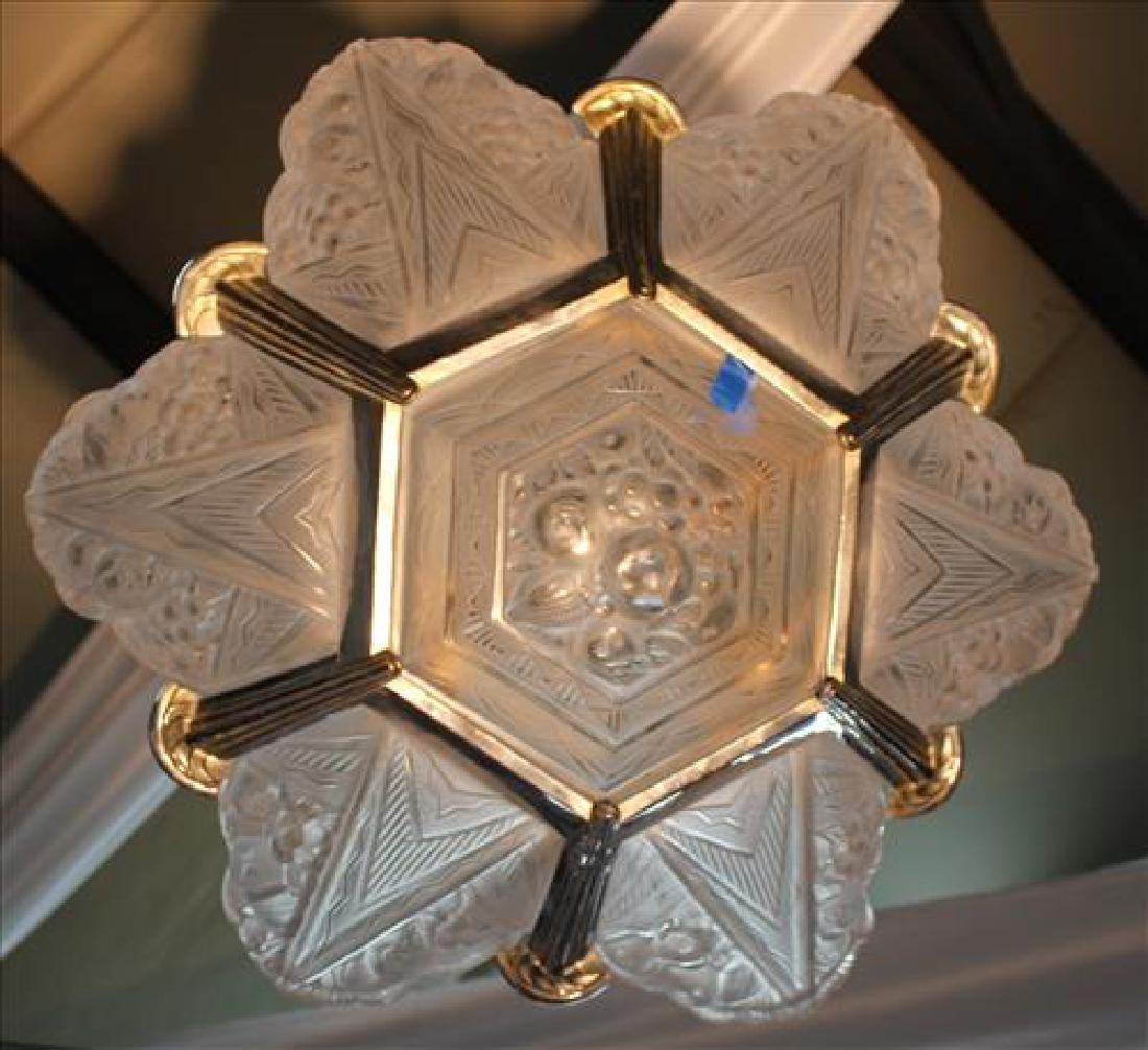Art Deco light fixture, possibly lalique, 43 in. T. - 3