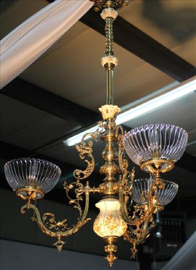 3 light porcelain and bronze light fixture with 3 glass