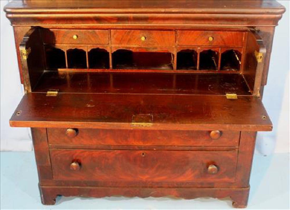 Mahogany Victorian 2 door secretary bookcase - 3