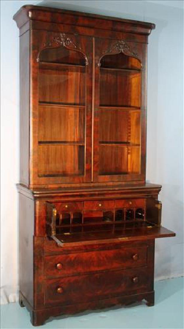 Mahogany Victorian 2 door secretary bookcase - 4