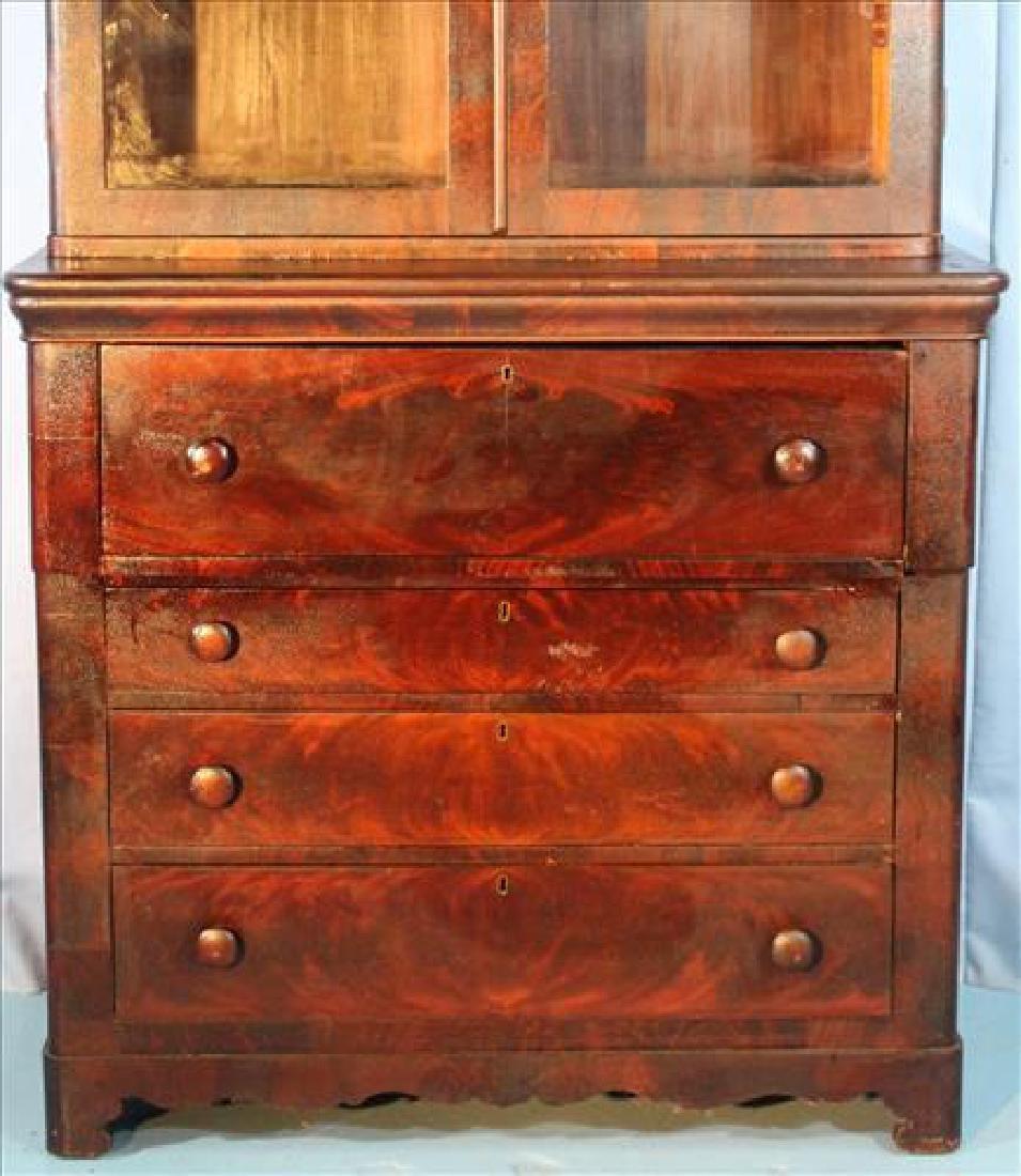 Mahogany Victorian 2 door secretary bookcase - 5