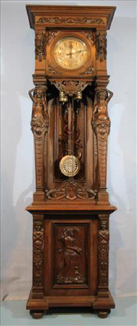 Oak open face German grandfather clock heavily carved