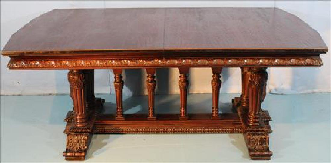 Mahogany dining table w 2 leaves by Berkey & Gay, ca.