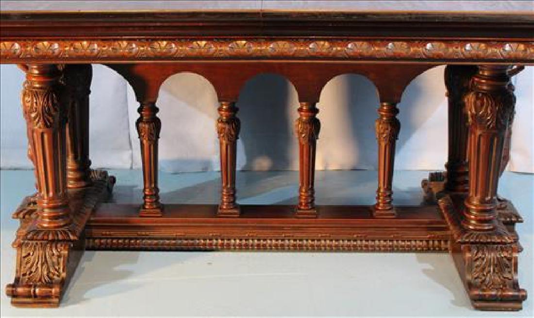 Mahogany dining table w 2 leaves by Berkey & Gay, ca. - 5