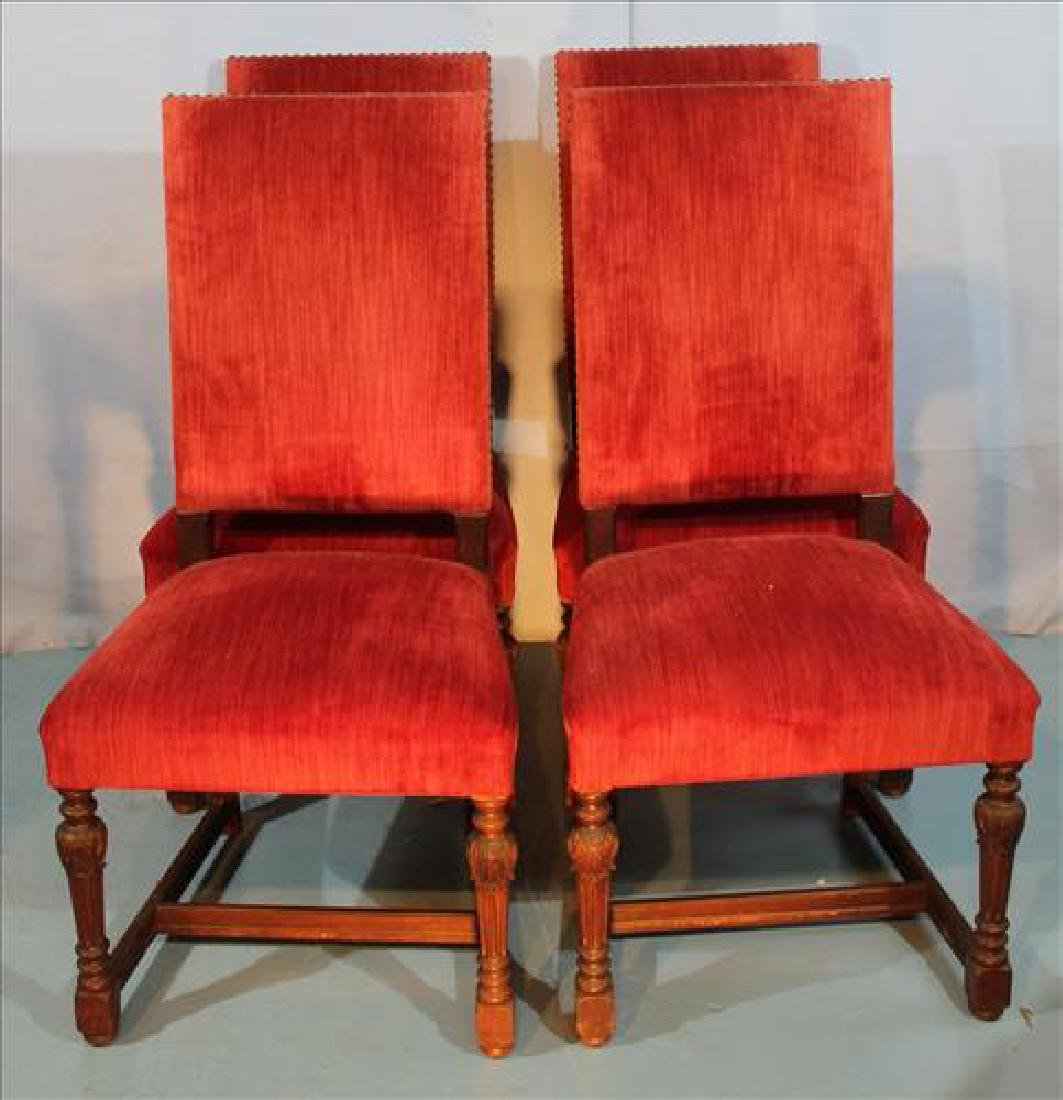 Set of 4 solid mahogany side chairs w red upholstery