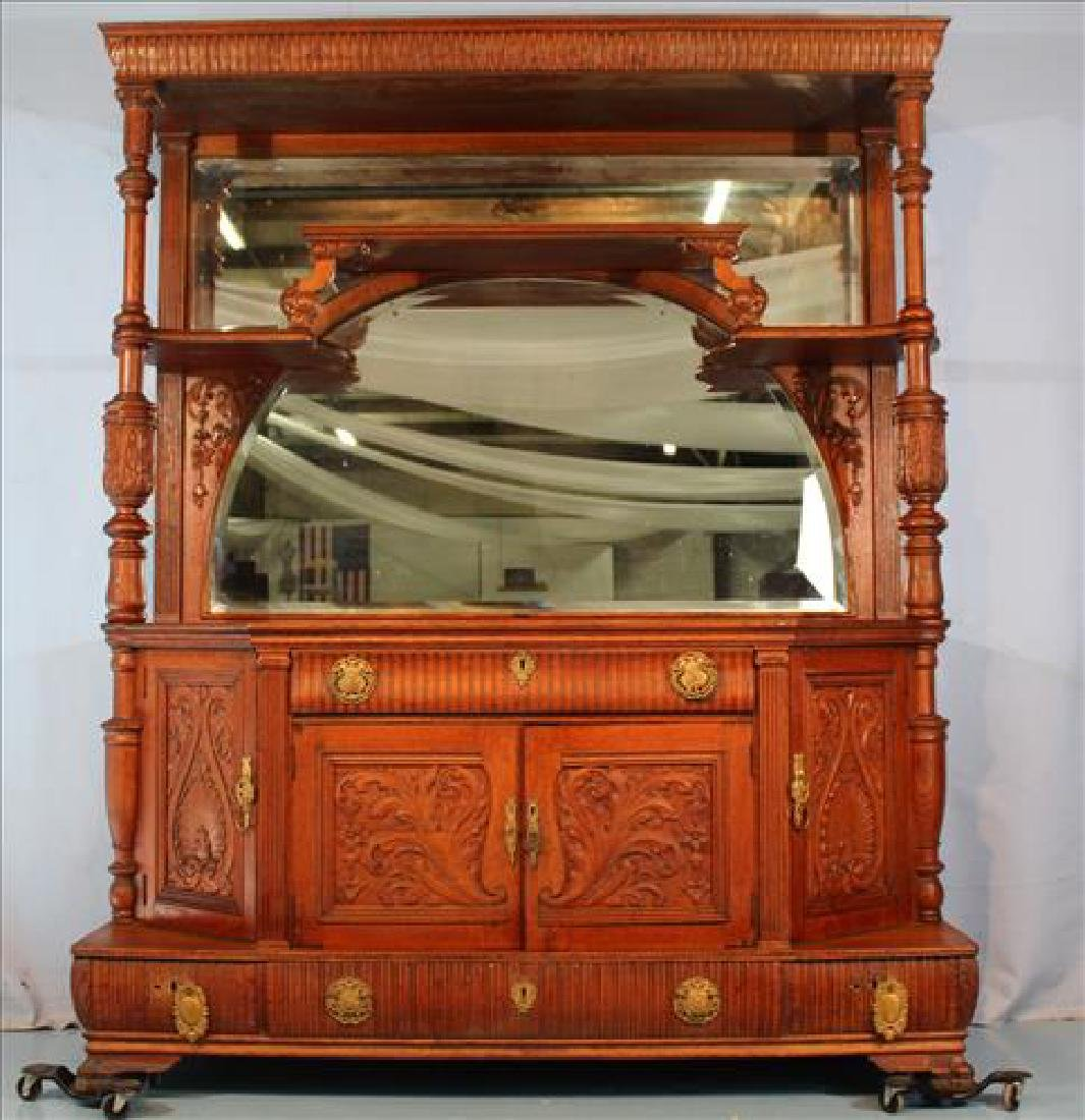 Oversize solid oak sideboard with beveled mirrors
