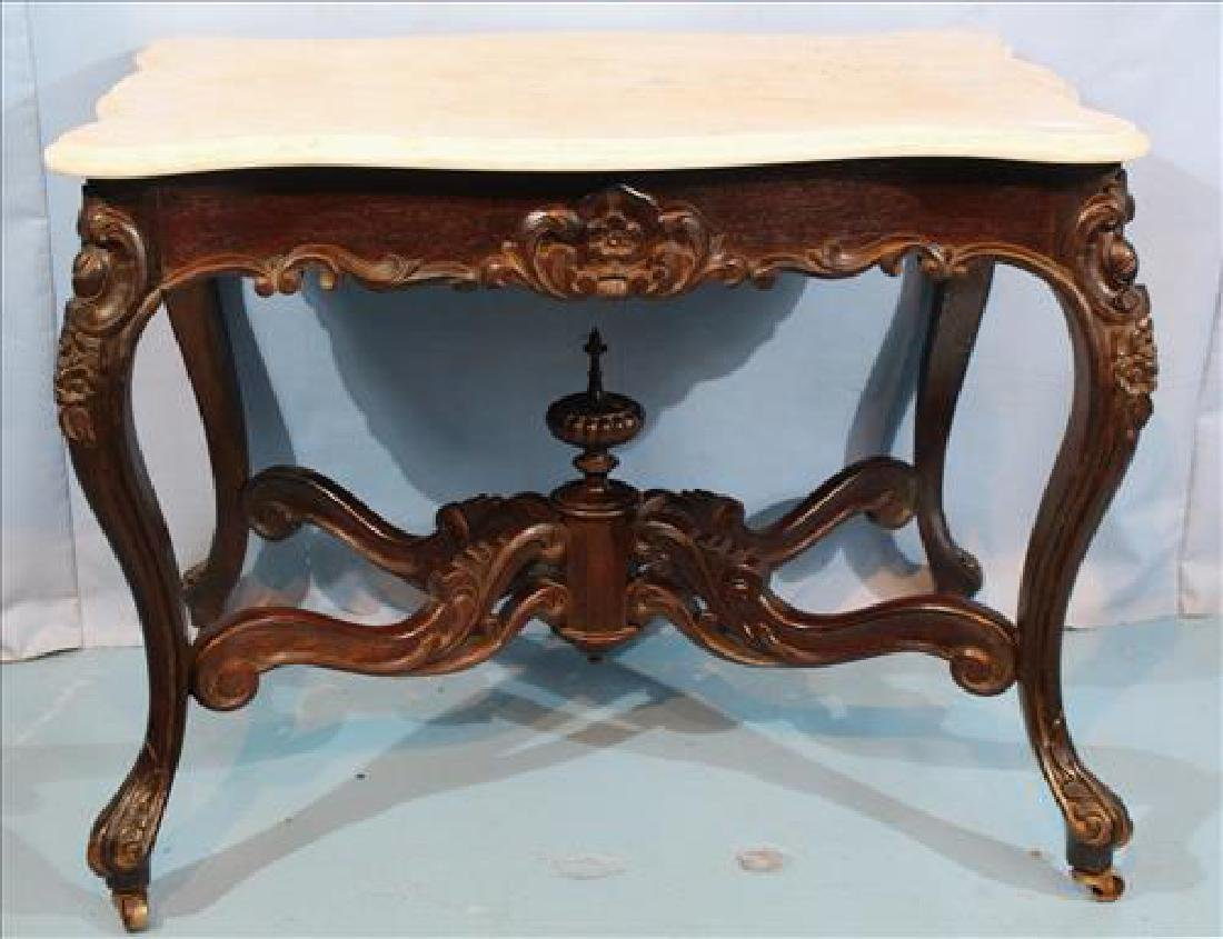 Rosewood turtle top center table with white marble