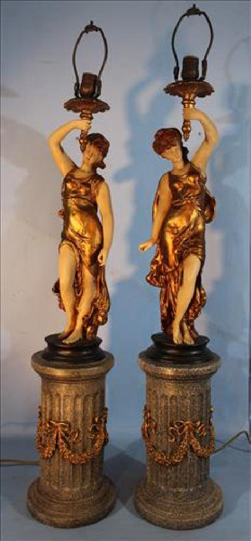 Pair large figural gilded lamps on pedestal, 43 in T.