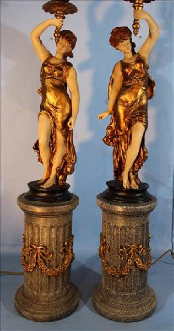 Pair large figural gilded lamps on pedestal, 43 in T. - 2