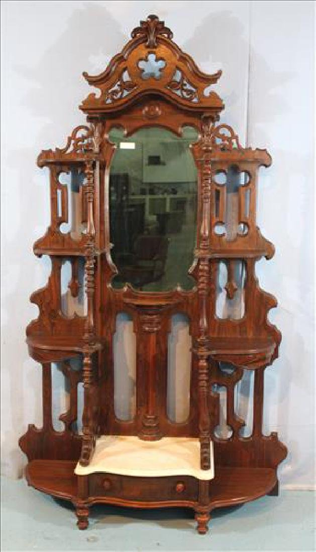 Rosewood grain Victorian etagere with marble base