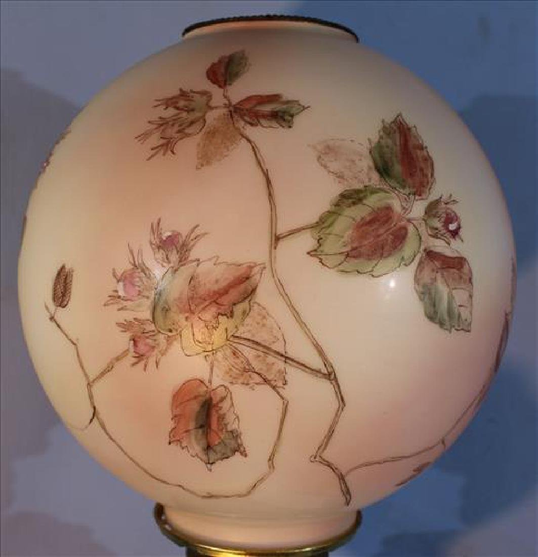Victorian hand painted satin banquet lamp, 31 in. T. - 4
