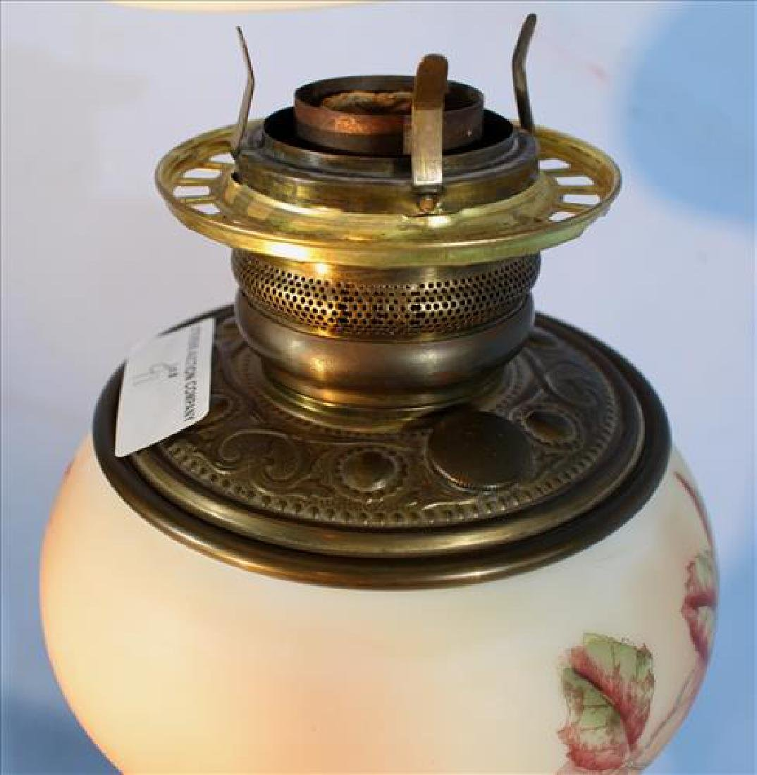 Victorian hand painted satin banquet lamp, 31 in. T. - 5